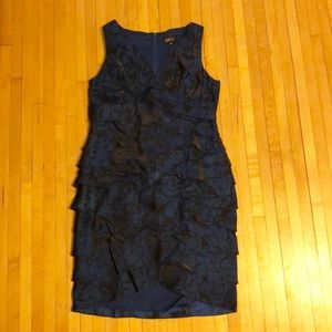 Navy blue and black floral formal dress